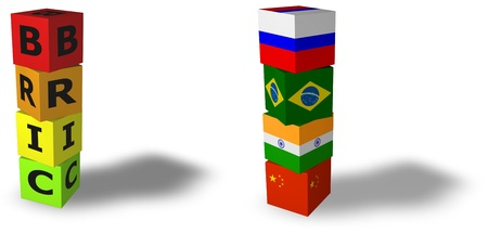 bric: 3d design rendered formed by the BRIC countries Brazil, Russia, India and China
