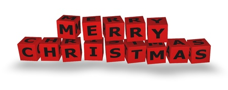 next year: Merry Christmas Cubes in 3D red cubes Stock Photo