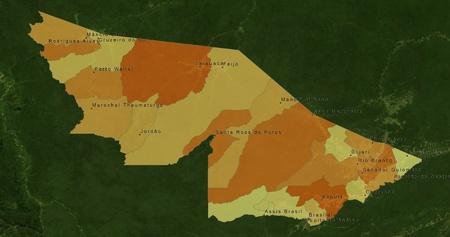 mideast: Boundaries of Acre State - mideast Brazil