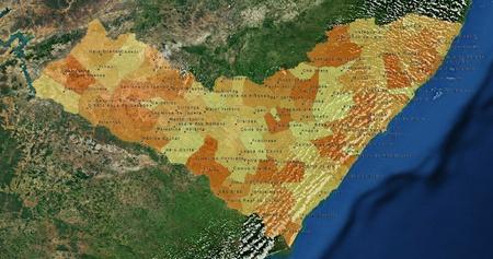 mideast: Boundaries of Alogoas State - mideast Brazil Stock Photo