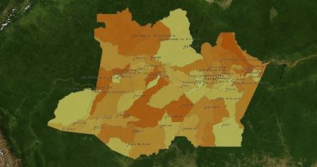mideast: Boundaries of Amazonas State - mideast Brazil