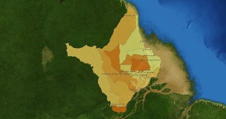 mideast: Boundaries of Amapa State - mideast Brazil