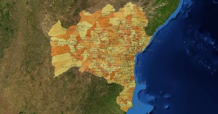 mideast: Boundaries of Bahia State - mideast Brazil