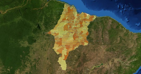 mideast: Boundaries of Tocantins State - mideast Brazil