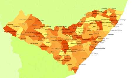 orientate: Boundaries of Alagoas State - northeast Brazil