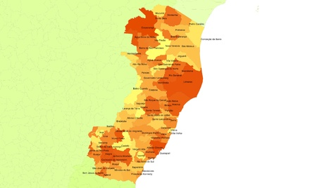 Boundaries of Espirito Santo State - northeast Brazil