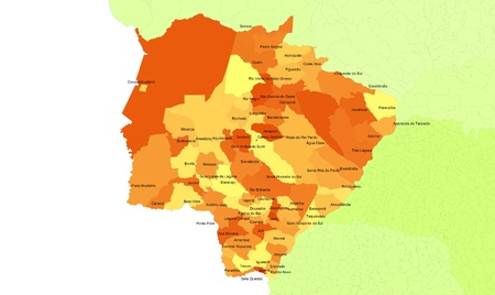 midwest: Boundaries of Mato Grosso do Sul State - midwest Brazil Stock Photo