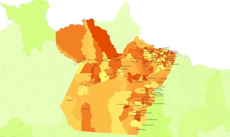 orientate: Boundaries of Para State - north west Brazil Stock Photo