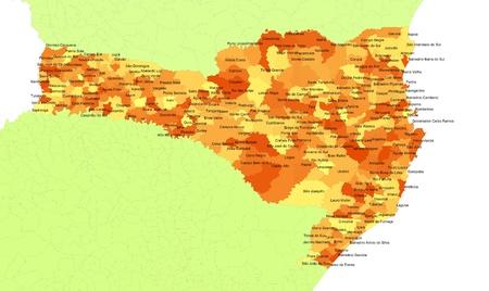 orientate: Boundaries of Santa Catarina State - south Brazil Stock Photo