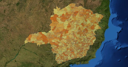 mideast: Boundaries of Minas Gerais State - mideast Brazil