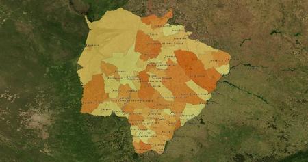 boundaries: Boundaries of Mato Grosso do Sul State - mideast Brazil