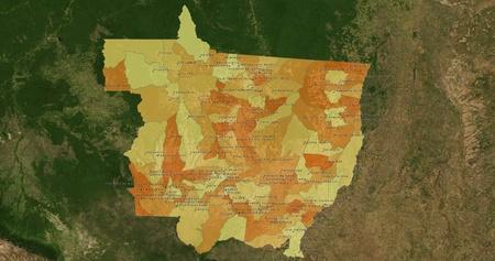 mideast: Boundaries of Mato Grosso State - mideast Brazil