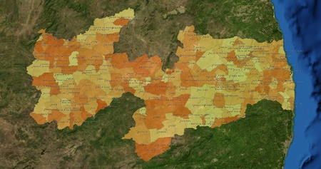 mideast: Boundaries of Paraiba State - mideast Brazil