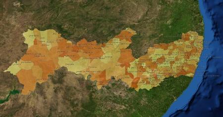 mideast: Boundaries of Pernambuco State - mideast Brazil