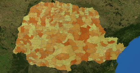 mideast: Boundaries of Parana State - mideast Brazil