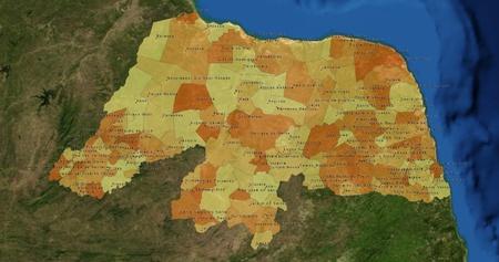 mideast: Boundaries of Rio Grande do Norte State - mideast Brazil Stock Photo