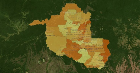 mideast: Boundaries of Rondonia State - mideast Brazil