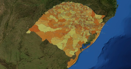 mideast: Boundaries of Rio Grande do Sul State - mideast Brazil