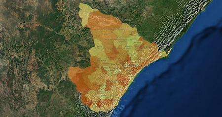 mideast: Boundaries of Sergipe State - mideast Brazil