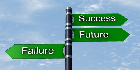 Road sign with success, future and failure words photo