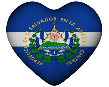 el salvador flag: Illustration of heart with flag of El Salvador
