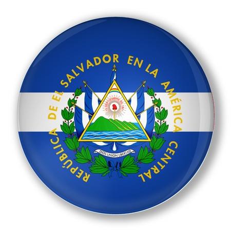 el salvador flag: Illustration of a badge with flag of El Salvador with shadow