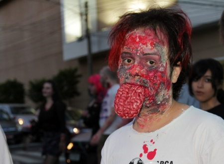 ASSIS, SAO PAULO BRAZIL - SEPTEMBER 29  An unidentified man dressed as a zombie, during the annual zombie walk on September 29, 2012 in Assis, Sao Paulo, Brazil