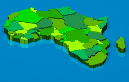 3D illustration political map of Africa continent illustration