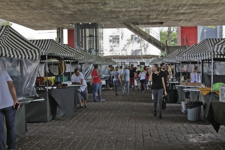 mam: SAO PAULO, BRAZIL - FEBRUARY 08, 2015: Detail of the traditional antique objects market that has been held all Sundays in the space below of Modern Art Museum MAM at Paulista Avenue in Sao Paulo Brazil.
