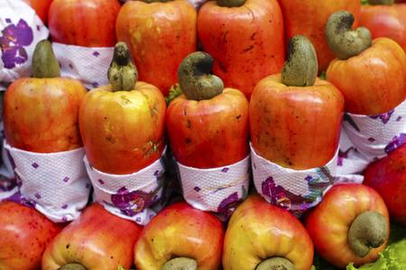 cashew tree: Exotic fruit Brazilian caju cashew exposed in the Market