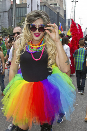 drag queen: SAO PAULO, BRAZIL - June 7, 2015: An unidentified Drag Queen dressed in traditional costume celebrating lesbian, gay, bisexual, and transgender culture in the 19º Pride Parade Sao Paulo.