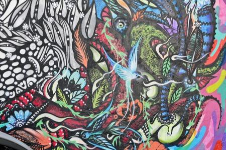 batman: Sao Paulo, Brazil July 18, 2015: Graffiti detail of unidentified artist on the wall of the Batman alley in Sao Paulo Brazil.