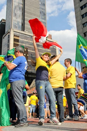 green clothes: SAO PAULO, BRAZIL August 16 2015: An unidentified group of people with flags and yellow and green clothes in the protest against federal government corruption in Sao Paulo Brazil.