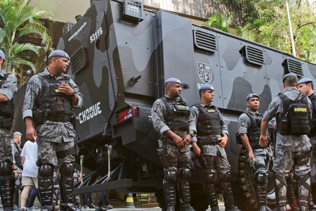 federal government: SAO PAULO, BRAZIL August 16 2015: An unidentified group of cops take care of security in the protest against federal government corruption in Sao Paulo Brazil.