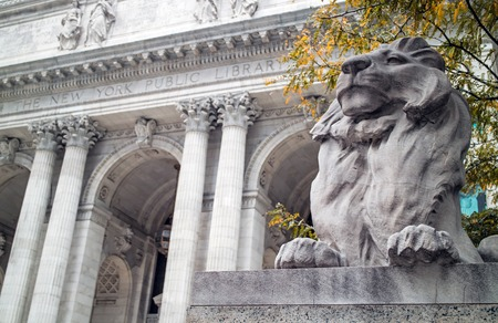 fortitude: Lion Statue New York Public Library Manhattan Editorial