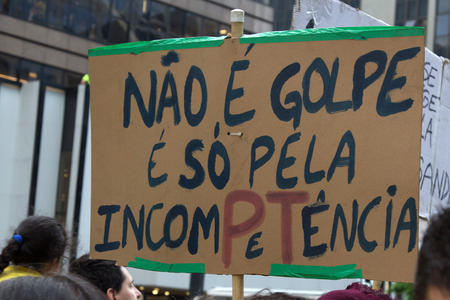problematic: Sao Paulo Brazil March 13, 2016: One unidentified group of people in the biggest protest against federal government corruption in Sao Paulo. Editorial