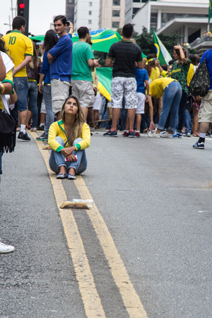 demonstration: Sao Paulo Brazil March 13, 2016: One unidentified group of people in the biggest protest against federal government corruption in Sao Paulo. Editorial