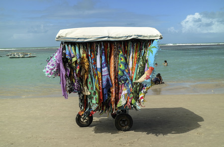 barrier reef: A vending cart in Chicken Beach in Ipojuca City near barrier reef, northeast Brazil