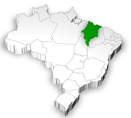 emergent: Brazilian map with states separated and highlight in Maranhao State