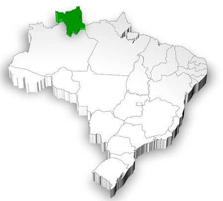 emergent: Brazilian map with states separated and highlight in Roraima State