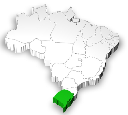 emergent: Brazilian map with states separated and highlight in Rio Grande do Sul  State