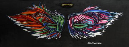 fashion art: Sao Paulo, Brazil February 4, 2017: Colorful graffiti of unidentified artist on the wall of the Batman Alley in Sao Paulo
