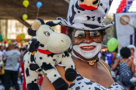SAO PAULO, BRAZIL - June 18, 2017: An unidentified Drag Queen dressed in a costume celebrating lesbian, gay, bisexual, and transgender culture in the 21st Gay Pride Parade Sao Paulo.