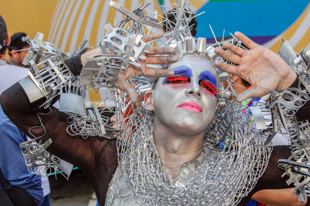 sexual orientation: SAO PAULO, BRAZIL - June 18, 2017: An unidentified Drag Queen dressed in a costume celebrating lesbian, gay, bisexual, and transgender culture in the 21st Gay Pride Parade Sao Paulo.