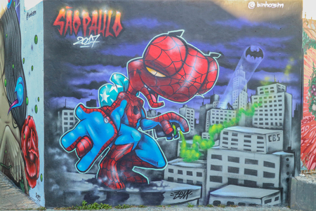 Sao Paulo, Brazil August 6, 2017: Colorful graffiti of unidentified artist on the wall of the Batman Alley, a very famous public place in Sao Paulo Editorial