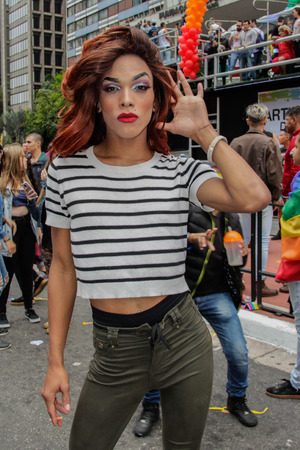 Sao Paulo, Brazil - June 3, 2018: An unidentified Drag Queen dressed in a costume celebrating lesbian, gay, bisexual, and transgender culture in the 22th LGBTI Pride Parade Sao Paulo. Editorial