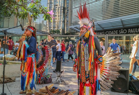 Sao Paulo, Brazil - July 8, 2018: An unidentified Peruvian group playing at Paulista Avenue on Sunday - Sao Paulo.