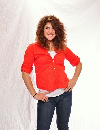 youthful: Youthful happy smiling brunette woman