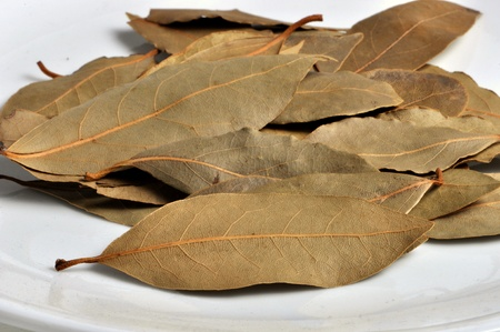 Dried bay leaves lay on a white plate.