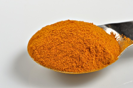 A spoonful of ground turmeric sits on a white background.